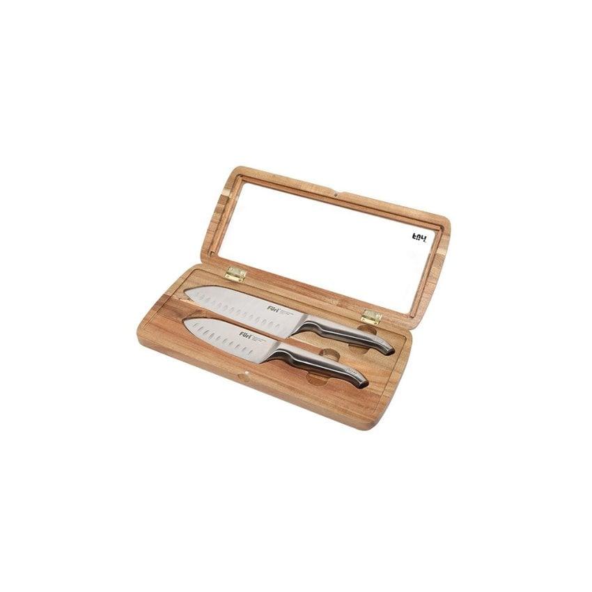 FURI Zestaw 2 noży santoku z drewnianym pudełku