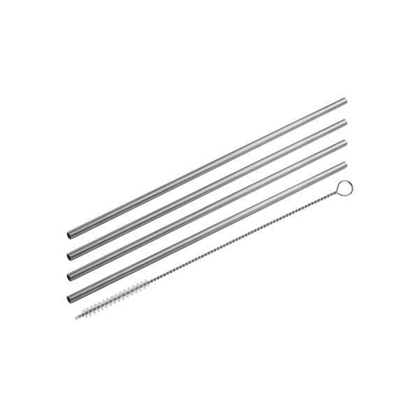FACKELMANN Słomki proste inox 24/0,5cm+szczoteczka