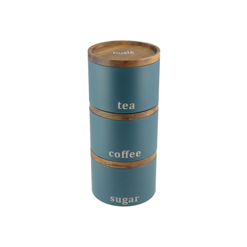 HUSLA Zestaw 3 pojemników do przechowywania: kawa, herbata, cukier