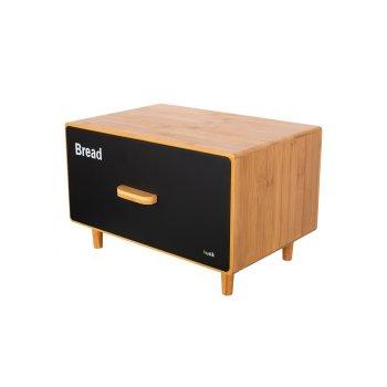 HUSLA Chlebak SCANDIC z drewna bambusowego z szufladą z lakierowanej stali nierdzewnej