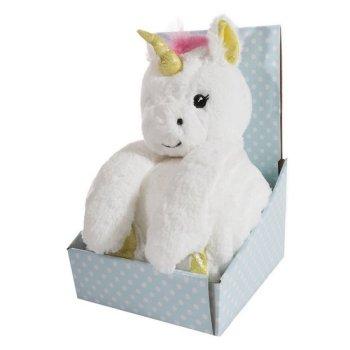 Zestaw koc dziecięcy z zabawką przytulanką biały jednorożec, 100x75 cm