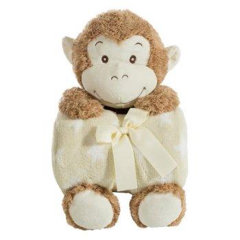 Zestaw koc dziecięcy z zabawką przytulanką małpka, 100x75 cm