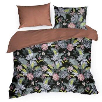Komplet pościeli SHERY z makosatyny, najwyższej jakości satyny bawełnianej z kwiatowym wzorem, 160 X 200 cm, 2 szt. 70 X 80